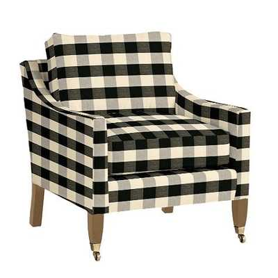 CUSTOM Griffin Club Chair without Nailheads - Buffalo Check Black, driftwood legs - Ballard Designs