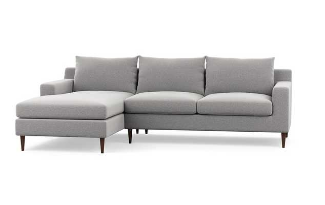 "SLOAN FABRIC SOFA WITH LEFT CHAISE, 96"" in Ash Performance Felt with Oiled Walnut Tapered Legs - Interior Define"