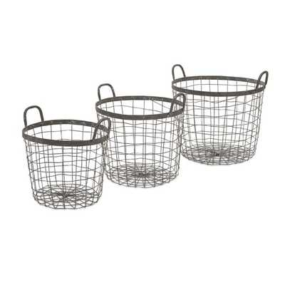 Metro Wire Baskets - Set of 3 - Mercer Collection