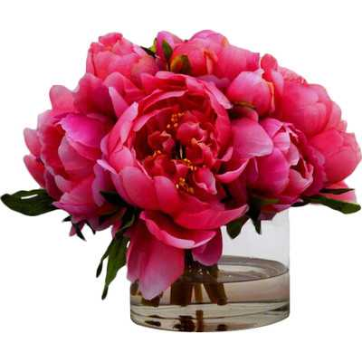 Peonies in Small Glass Cylinder - Wayfair