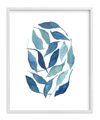 "Blue Leaves - 16''x 20""-Framed (White), white border - Minted"