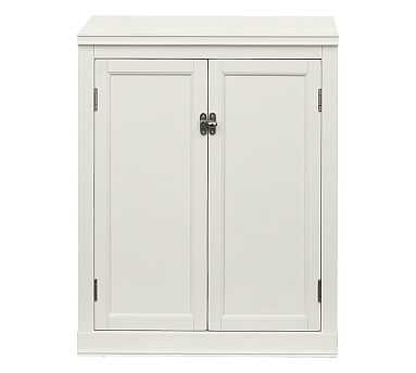"""Logan Cabinet Base With Wood Doors 24"""", Antique White - Pottery Barn"""