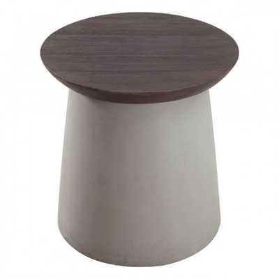Henge Side Table Cement & Walnut - Zuri Studios