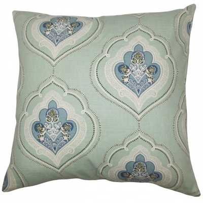 Aafje Floral  18''square Pillow Sea Green/Pillow insert included - Linen & Seam