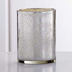 "Bubbled Silver Glass Hurricane Candle Holder -6"" dia. x 8""H - Crate and Barrel"