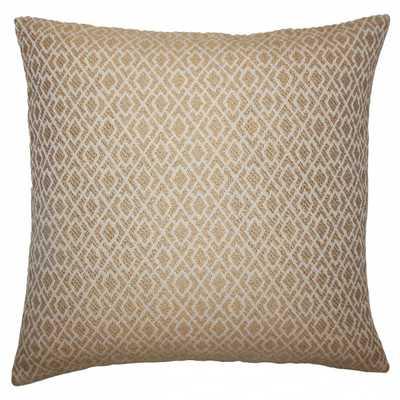 """Calanthe Geometric Pillow Camel - 18"""" x 18"""" - Down insert - Linen & Seam"""