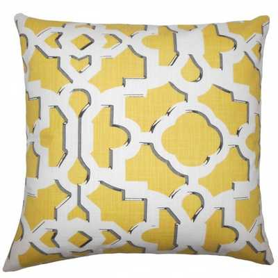 Calixte Geometric Pillow Sunflower - Yellow - 18x18, With Insert - Linen & Seam