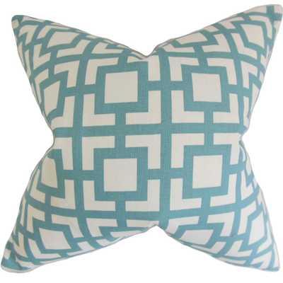 """Callas Geometric Pillow Light Blue - 18"""" x 18"""" - Down Insert - Linen & Seam"""