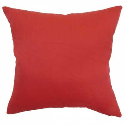 "Calvi Plain Pillow Red - 18"" x 18"" - Polyester Insert - Linen & Seam"