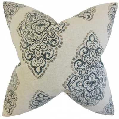 """Elexis Geometric Pillow Blue-18"""" x 18""""-Polyester Insert - Linen & Seam"""