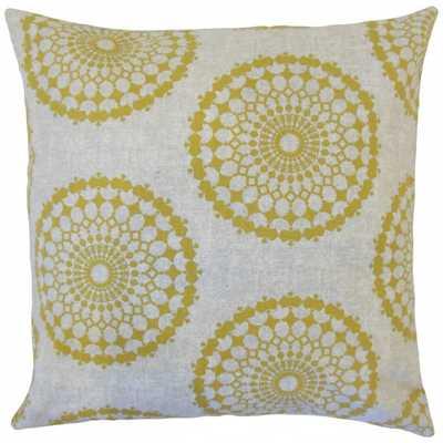 "Elyes Geometric Pillow Citrine - 18"" x 18"" - Polyester Insert - Linen & Seam"