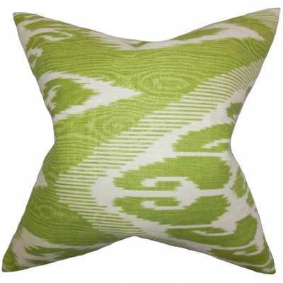 """Fernande Ikat Pillow Green- 18"""" x 18""""- high-fiber polyester pillow insert. - Linen & Seam"""