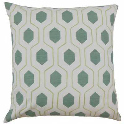 "Flynn Geometric Pillow Spa- 18"" x 18""- Green, white- high-fiber polyester insert - Linen & Seam"