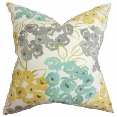 """Heloise Floral Pillow Gray 18"""" x 18"""" - insert - Linen & Seam"""