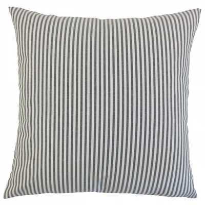 "Ira Stripes Pillow Black-20"" x 20""-Polyester Insert - Linen & Seam"