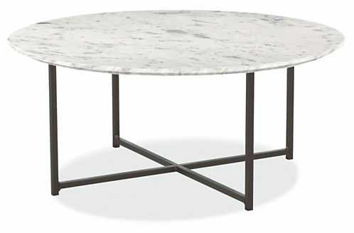 Classic Cocktail Tables in Natural Steel - Venatino marble - Room & Board