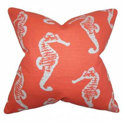 "Jolyon Coastal Pillow Orange, 18"" x 18"", Polyester Insert - Linen & Seam"