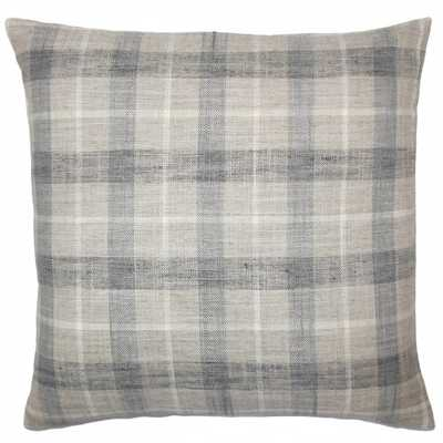 """Quinto Plaid Pillow Metal - 12"""" x 18"""" - With insert - Linen & Seam"""