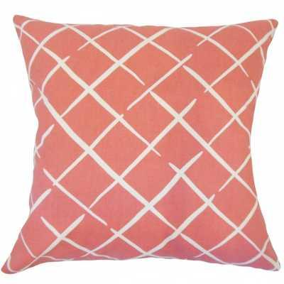 """Parham Geometric Pillow Rhubarb- 18"""" x 18""""- high-fiber polyester pillow insert - Linen & Seam"""