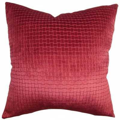 Earleen Solid Pillow Red - 20x20 - Down Insert - Linen & Seam