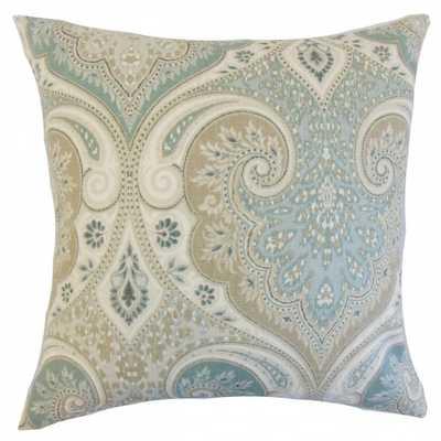 Kirrily Damask Pillow Seafoam - Euro Sham - Linen & Seam
