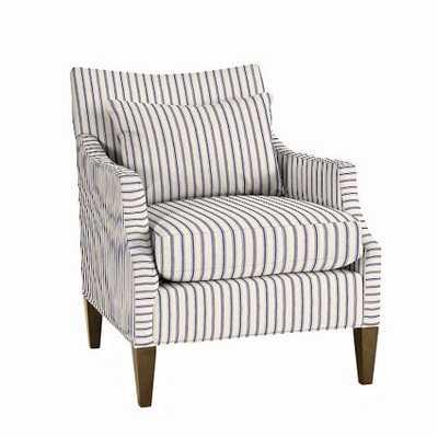 Courtland Club Chair - Vintage Ticking Stripe Navy - Weathered Legs - Ballard Designs