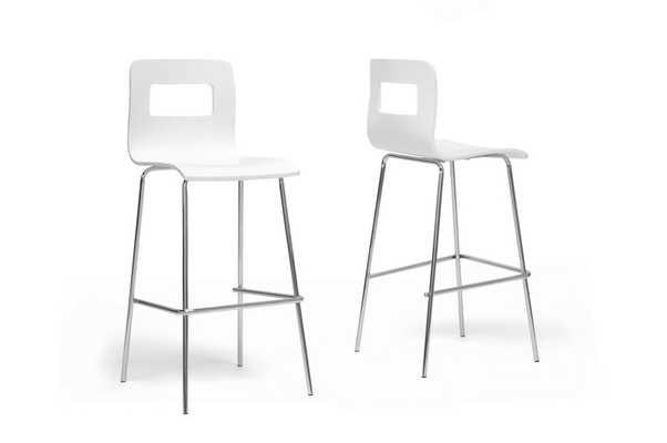 BAXTON STUDIO GRETA WHITE MODERN BAR STOOL (SET OF 2) - Lark Interiors
