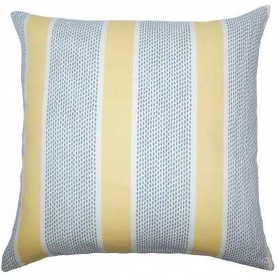 "Velten Striped Pillow Lemon - 18"" x 18"" - Polyester Insert - Linen & Seam"