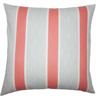 "Velten striped coral pillow - 12""x18"" - Down Insert - Linen & Seam"