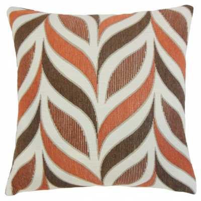 Veradis Geometric Pillow Coral - 18x18 - With Insert - Linen & Seam