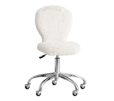 Round Upholstered Task Chair, Ivory Fur - Pottery Barn Kids
