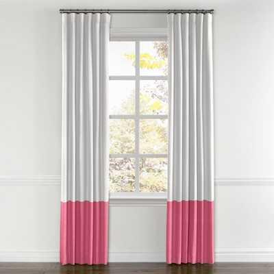 "white & bright pink linen curtain-84"" - Loom Decor"