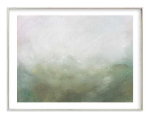 "Morning mist - 54""x40"" - Champagne Silver frame - white border - Minted"
