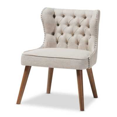 BAXTON STUDIO SCARLETT MID-CENTURY MODERN BROWN WOOD AND LIGHT BEIGE FABRIC UPHOLSTERED BUTTON-TUFTING WITH NAIL HEADS TRIM 1-SEATER ACCENT CHAIR - Lark Interiors