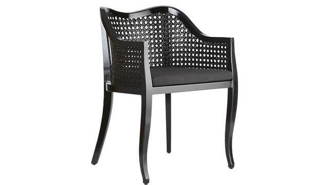 Tayabas black cane side chair with black cushion - CB2