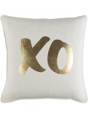 """XO PILLOW, GOLD 18""""x18"""" Polyester Filled - Lulu and Georgia"""