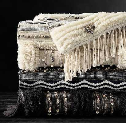 MOROCCAN WEDDING BANDED THROW - Black - RH