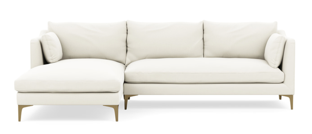 """Caitlin Chaise Sectional - Ivory Heavy Cloth - Brass Plated Sloan L Leg - 98"""" - Interior Define"""