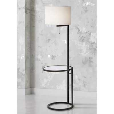 Space Saver Glass Tray Table Floor Lamp black - Lamps Plus
