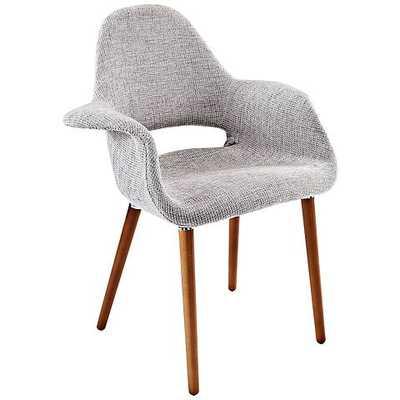 Aegis Mid-Century Light Gray Twill Dining Armchair schemes - Lamps Plus