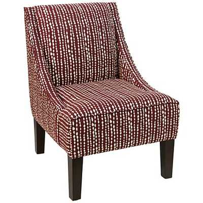 Uptown Line Dot Holiday Fabric Swoop Armchair red - Lamps Plus