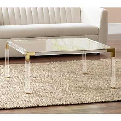 """Hanna 40"""" Square Clear Acrylic Modern Coffee Table - Lamps Plus"""