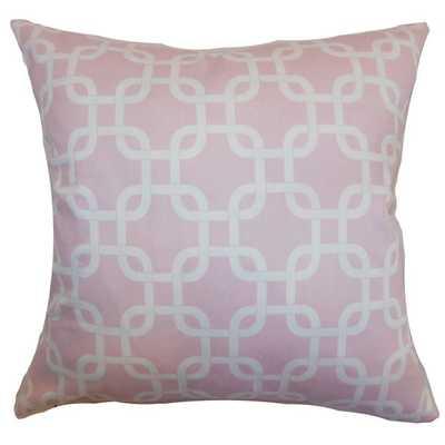 Qishn Geometric Pillow Twill- Pink Shade- 20x20, down insert - Linen & Seam