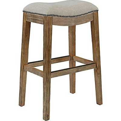 """Gaby Natural Wood 30 1/2"""" Cream Fabric Backless Barstool - Lamps Plus"""