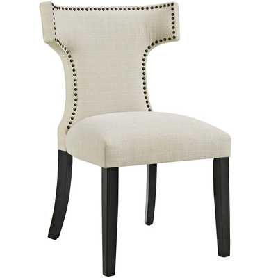 CURVE FABRIC DINING CHAIR IN BEIGE - Modway Furniture