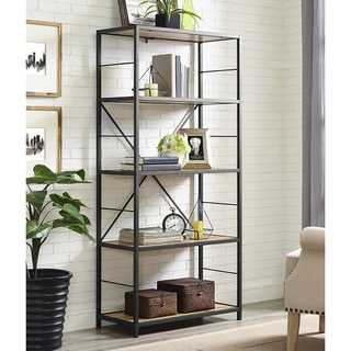"60"" Rustic Metal and Wood Media Bookshelf - Barnwood - Overstock"