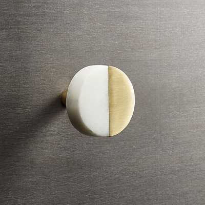 Selene Round Marble and Brass Knob - CB2