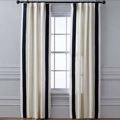 "Stripe Edge Linen Drape Rod Pocket, 124"", Navy - Williams Sonoma Home"