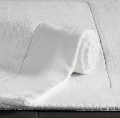 LINEN-BORDERED 650-GRAM TURKISH BATH MAT - WHITE - RH