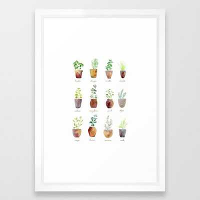Culinary Herbs - white vector frame - 15 x 21 - Society6